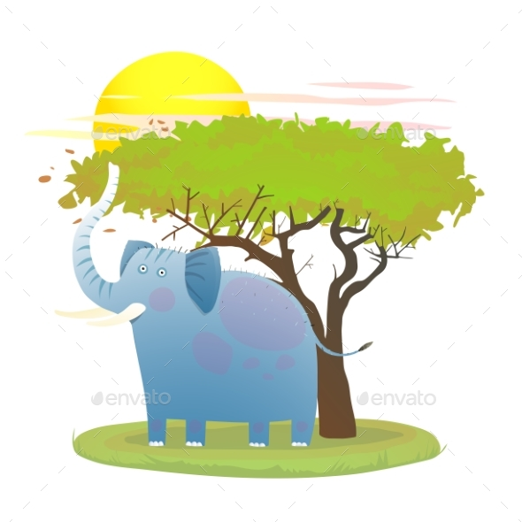 Graphicriver Blue Baby Elephant in Nature with Tree and Sun 19673062