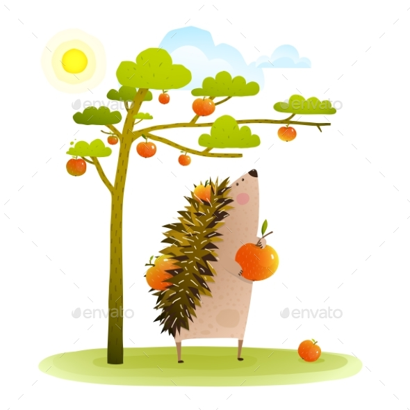 Graphicriver Farm Hedgehog Near Apple Tree Harvesting 19673068