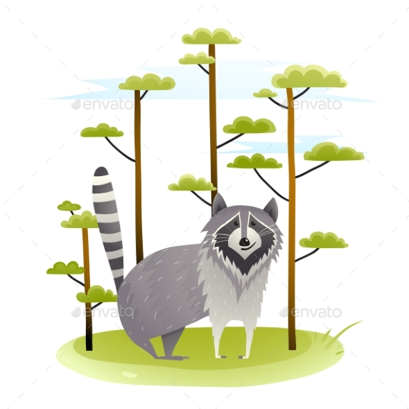 Graphicriver Raccoon in the Wild with Trees 19673071