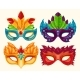 Collection of Cartoon Carnival Masks Decorated