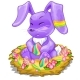 Purple Bunny Sitting in Basket with Easter Eggs