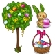 Basket with Easter Eggs, Bunny and Festive Tree