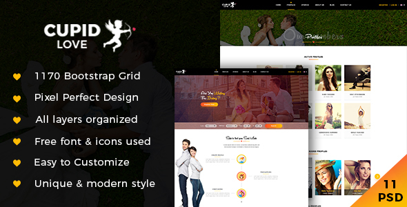 CUPID LOVE - Dating Website PSD Template