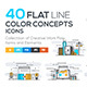 Set of Modern Flat Line Color Conceptual Icons