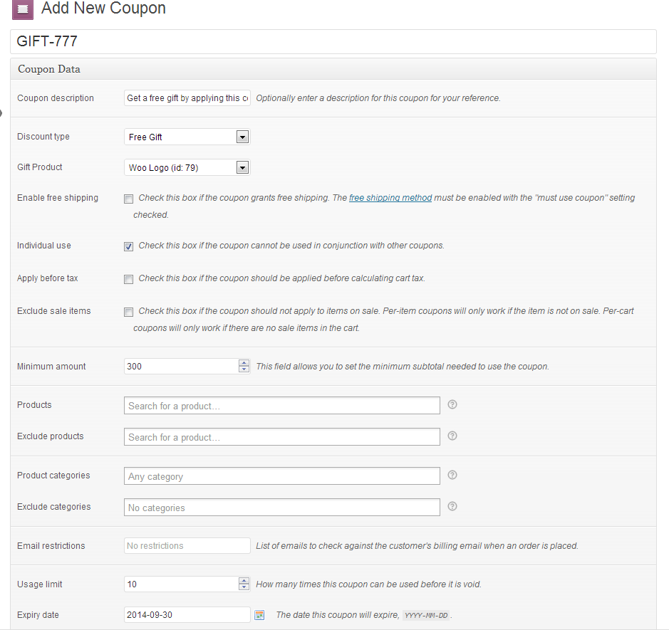 woocommerce gift coupons by renp codecanyon screenshots cart png screenshots coupon settings png