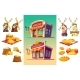 Set of Icons for a Bakery Two Bake Shops