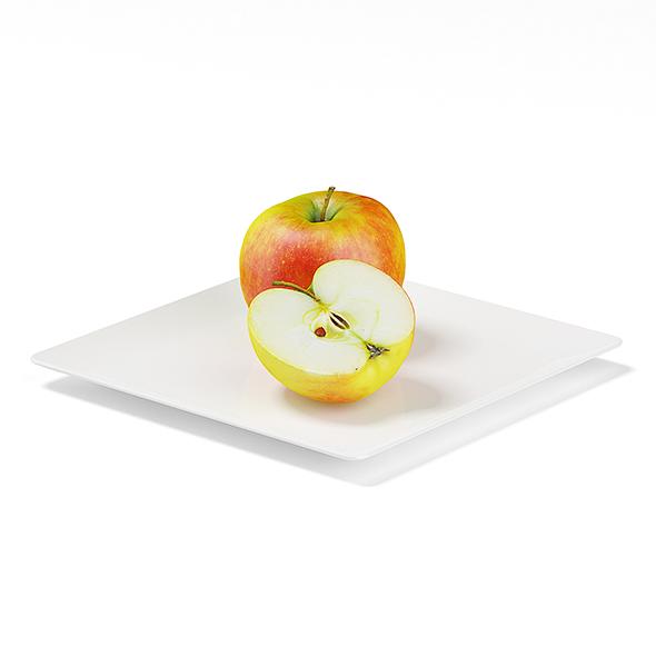 3DOcean Apples on White Plate 19677874