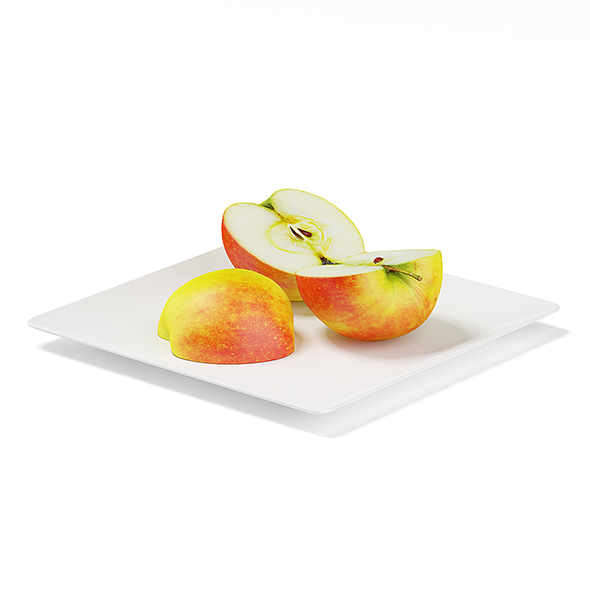 3DOcean Sliced Apples on White Plate 19677893