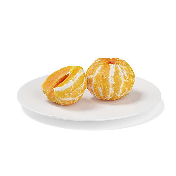 3DOcean Peeled Tangerines on White Plate 19677960