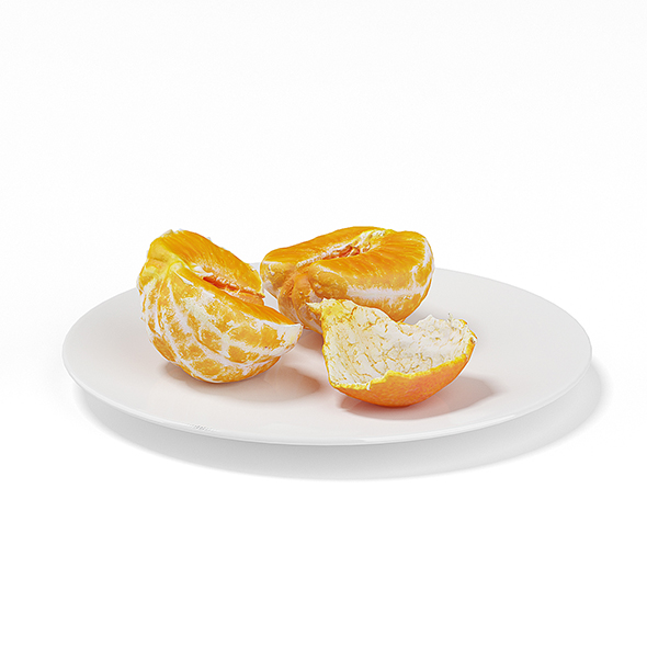 3DOcean Halved Tangerine on White Plate 19677967