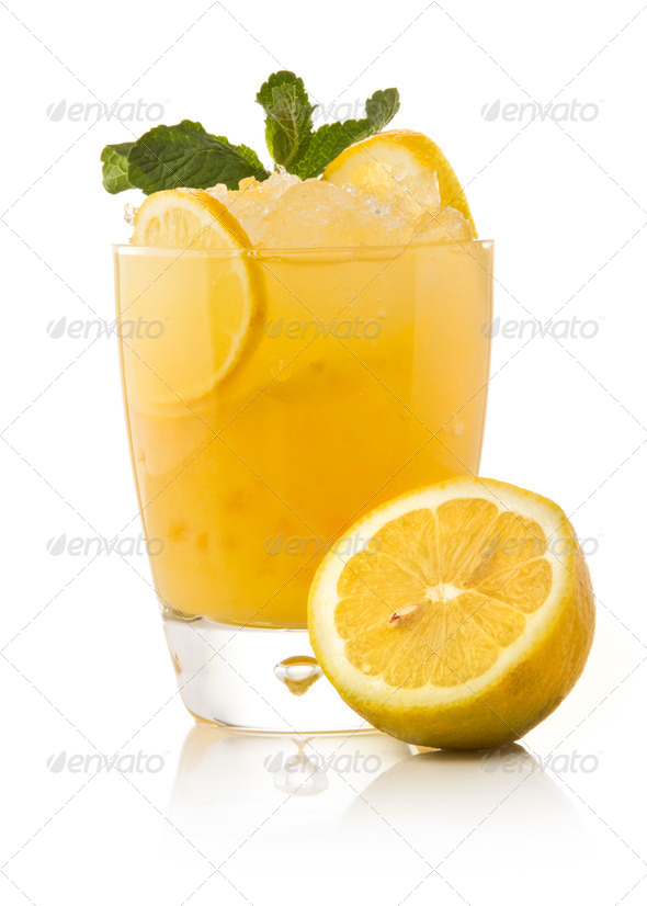 Refreshing cold lemon Cocktail against a white background - Stock Photo - Images