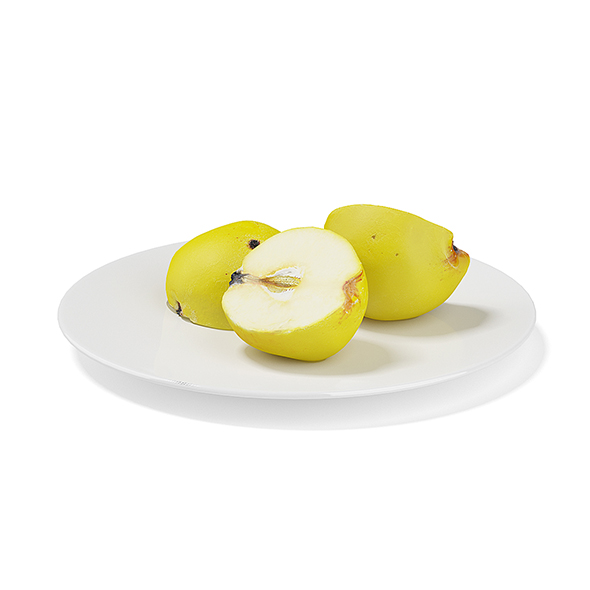 3DOcean Sliced Quinces on White Plate 19678000