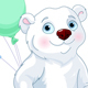 Polar Bear Riding a Bicycle with Balloons