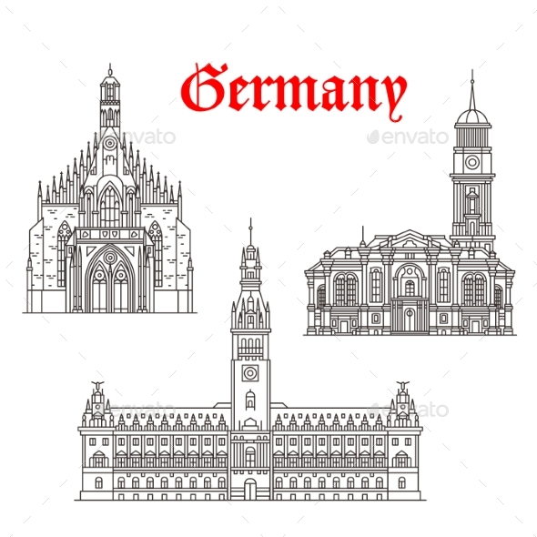 Graphicriver Architecture Buildings of Germany Vector Icons 19678997