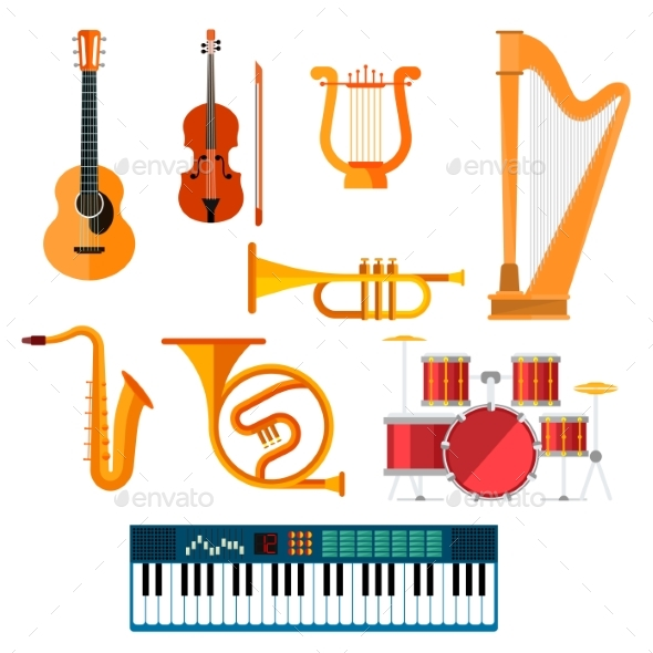 Graphicriver Musical Wind, Key or String Vector Instruments 19679001