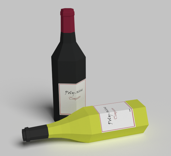 3DOcean Wine Bottles Low Poly 19679059
