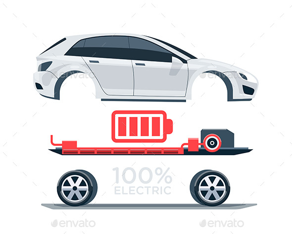 Graphicriver Electric Car Scheme Simplified Diagram of Components 19676788