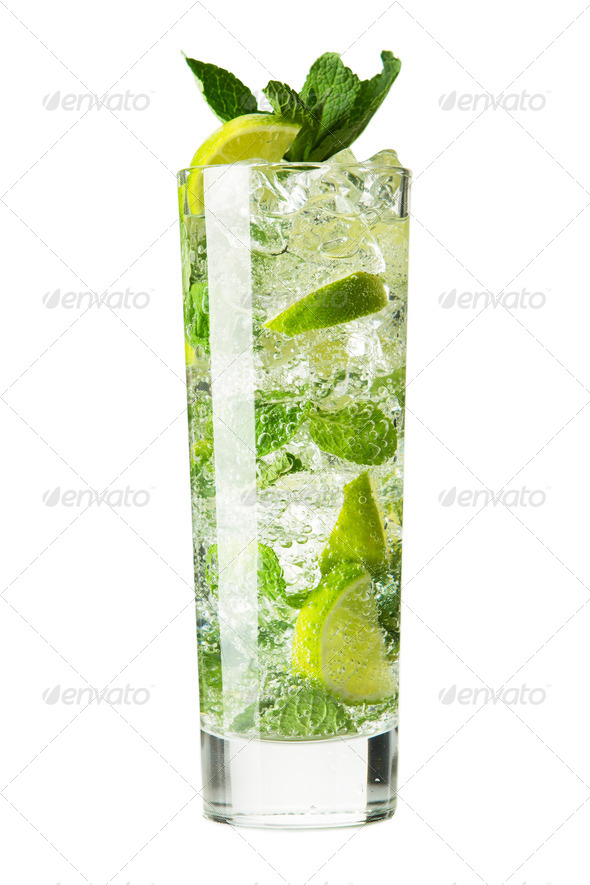 Mojito cocktail isolation on a white - Stock Photo - Images