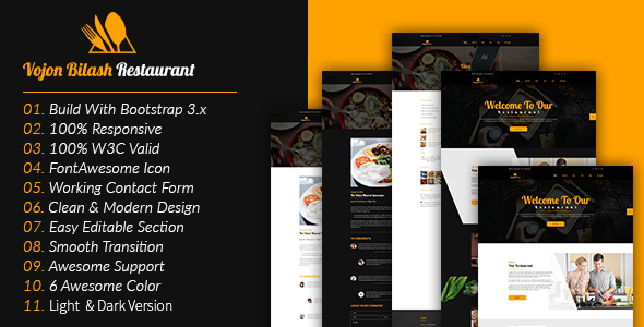 Image of Vojon Bilash Restaurant HTML5 Template