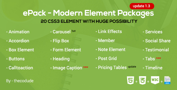 Download ePack -  20 CSS3 Element Packages For Bootstrap or Foundation v1.3