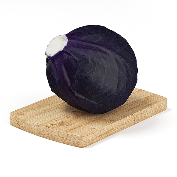 Red Cabbage on Wooden Board - 3DOcean Item for Sale