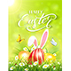 Green Background with Rabbit and Three Easter Eggs in Grass