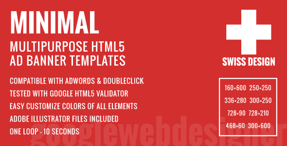 Swiss Design - Minimal Multipurpose HTML5 Ad Banner Templates