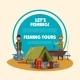 Fishing Tour Cartoon Poster with Fisherman Camp