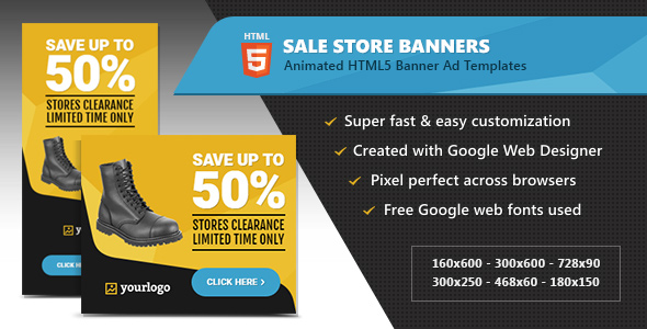 HTML5 Ads - Store Sale Discount Promotion Banners