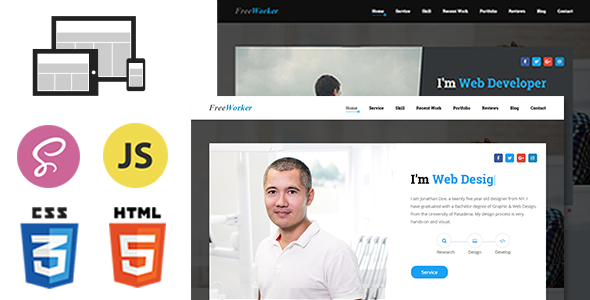 FreeWorker - Personal Portfolio One Page HTML Template