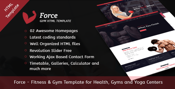 Download Force | Gym Fitness Template for Health, Gyms and Yoga Centers