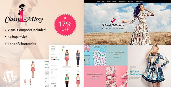 Фото Wordpress премиум тема  Classy Missy - eCommerce, WordPress Fashion Shopping Theme — classy wp preview offer.  large preview