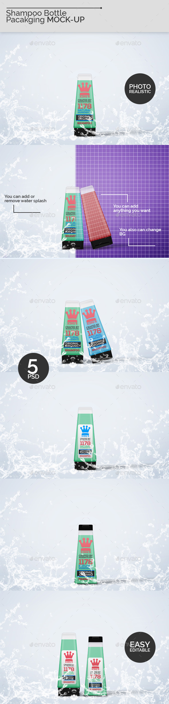 Shampoo Bottle Packaging Mock-Ups