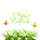Easter Background with Butterflies and Flowers in Grass