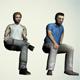 Low poly model of sedentary people