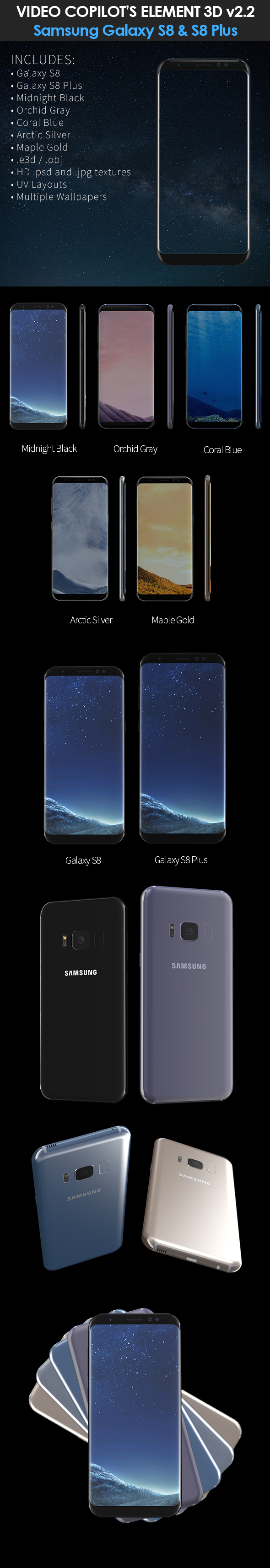 Element3D Samsung Galaxy S8 and S8 Plus - 3DOcean Item for Sale