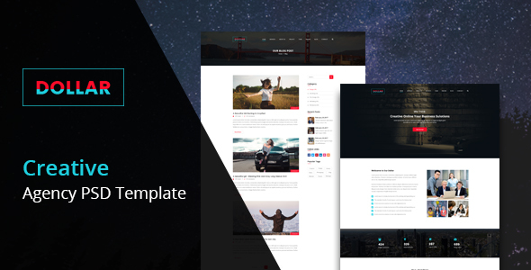 Dollar - Creative Agency One Page PSD Template