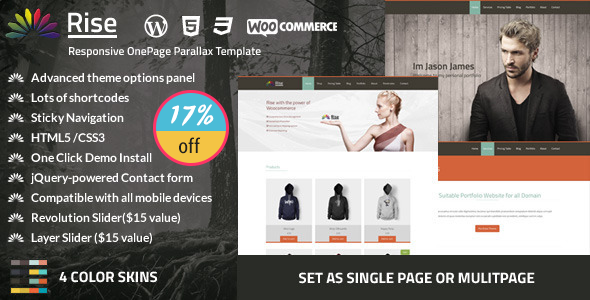 Rise | One page Parallax WordPress Theme