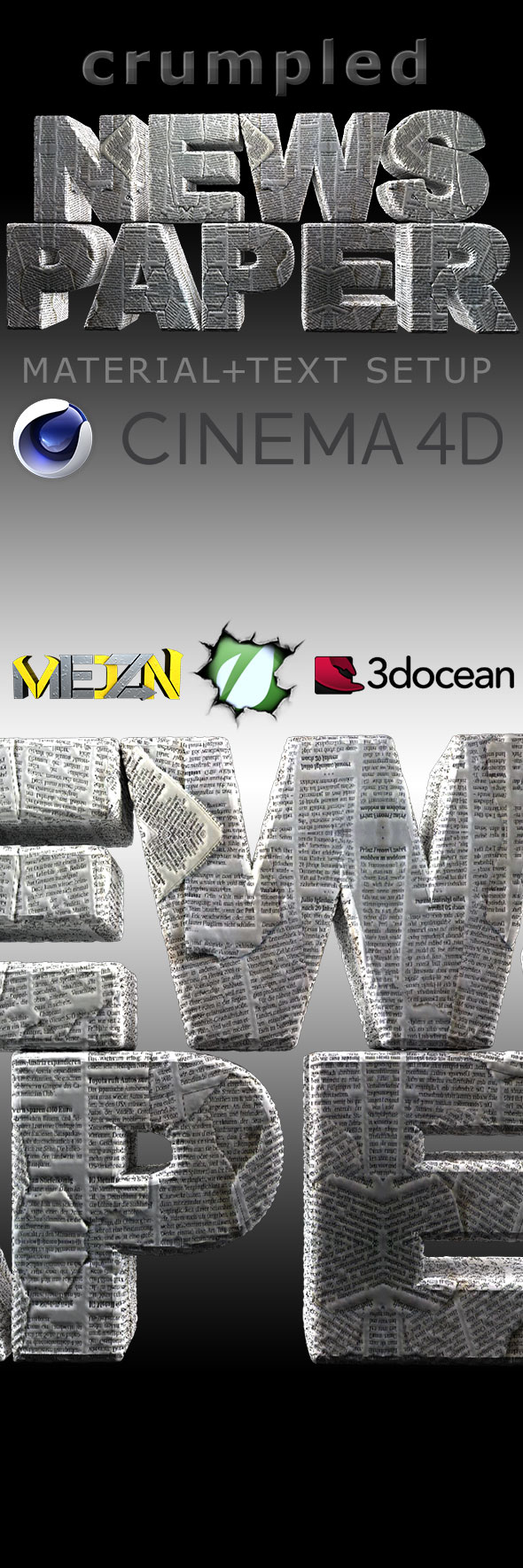 3DOcean Crumpled Newspaper 19694140