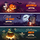 Halloween Banners with Characters on the Background