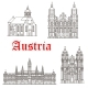 Austrian Architecture Buildings Vector Icons