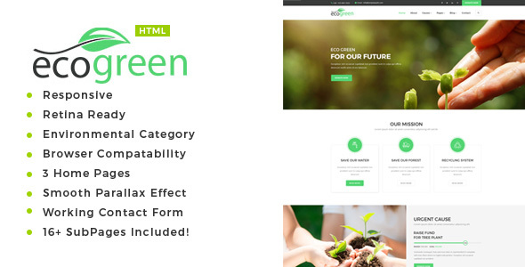 Image of Ecogreen - Environment / Non-Profit HTML Template