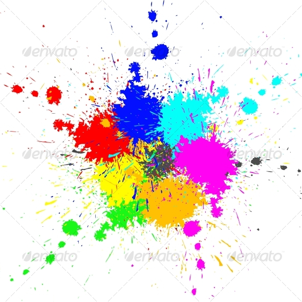 Color paint splashes background - Backgrounds Decorative