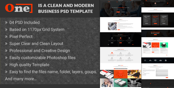 One - Multipurpose Corporate Business PSD Template