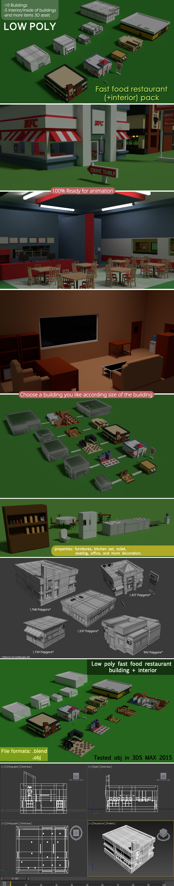 Low Poly Fast Food Restaurant (+interior) Pack - 3DOcean Item for Sale