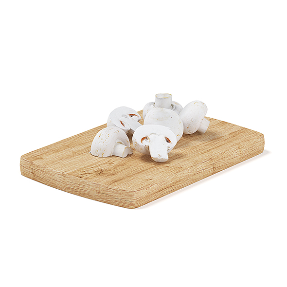 3DOcean Sliced Mushrooms on Wooden Board 19699047