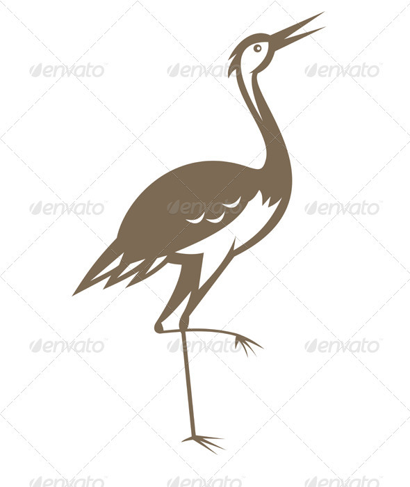 GraphicRiver Crane Looking Up Retro Woodcut 1931249