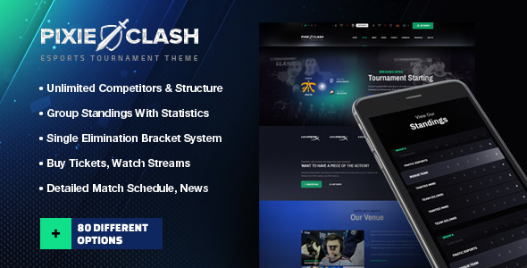PixieClash - eSports gaming theme for tournaments & competitions