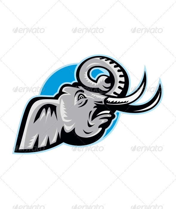 GraphicRiver Angry African Elephant Head Retro 1931341