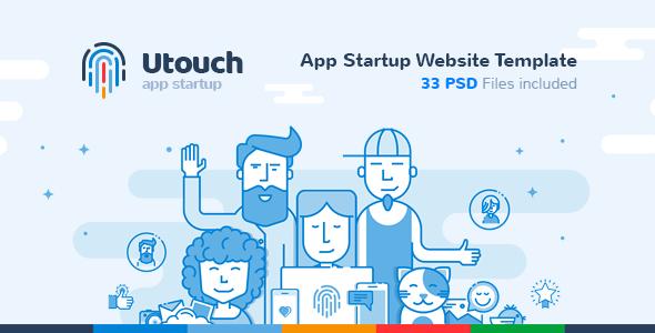 Utouch - App Startup Website PSD Template